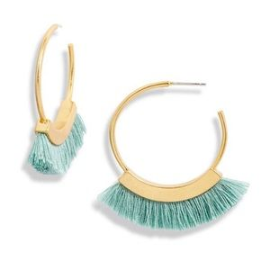 🆕 Madewell Sage Fringe Hoop Earrings NWT